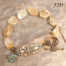 Load image into Gallery viewer, Hayley - Hand Stamped Bronze, Citrine and Turquoise Bracelet