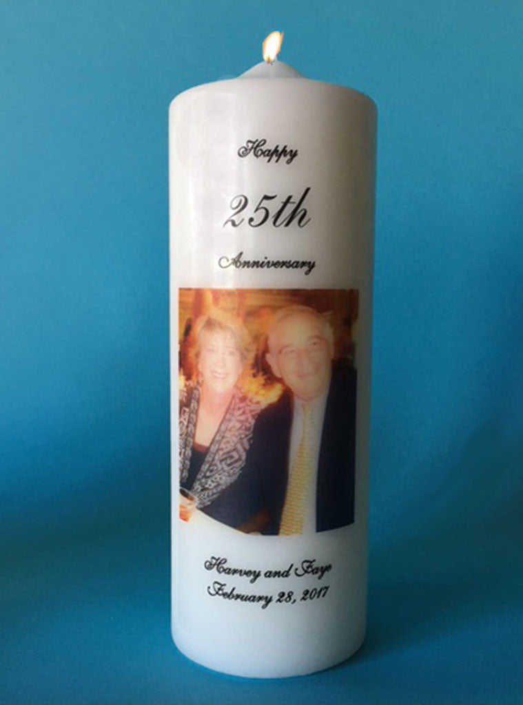 Anniversary Candle with Photo and Personalization, white or ivory