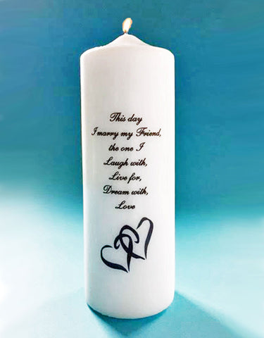 Double heart wedding unity candle with this day i marry my friend verse