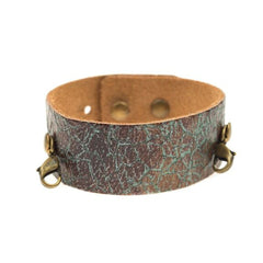 Lenny and Eva Thin Leather Cuff in distressed turquoise.