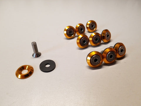 10PC GOLD ORANGE COPPER ANODIZED ALUMINUM FENDER WASHER ENGINE BAY DRESS UP KIT