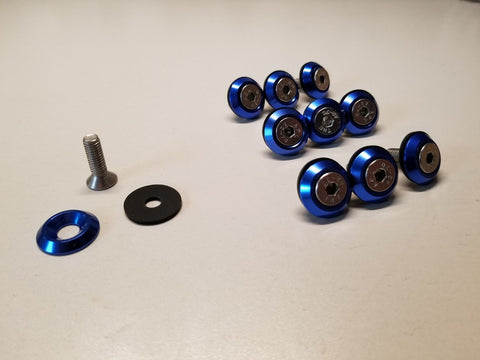 10PC BLUE BILLET ANODIZED ALUMINUM FENDER WASHER ENGINE BAY DRESS UP KIT