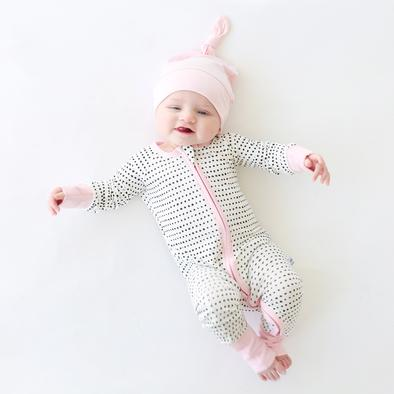 Little Sleepies Bamboo Zip Romper/Sleeper - Pink Trim Polka Dots