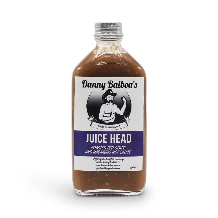Danny Balboa's Juice Head Hot Sauce 150ml ChilliBOM Hot Sauce Club Australia Chilli Subscription Gifts SHU Scoville