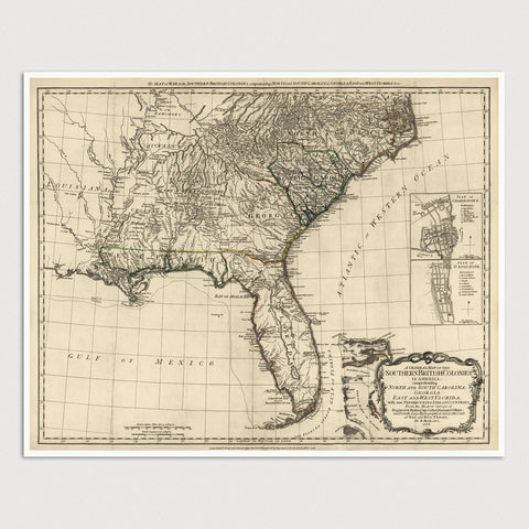 Southern Colonial America Antique Map Print (1776)