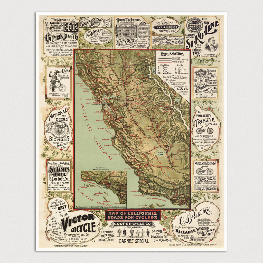 California Antique Bicycle Map Print  (1895)