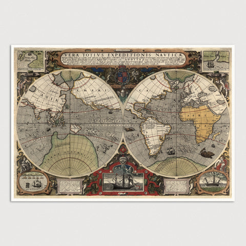 World Antique Map Print (c1595)