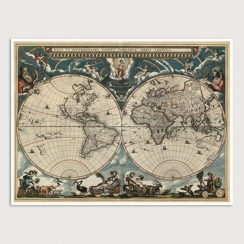 World Antique Map Print (1664)
