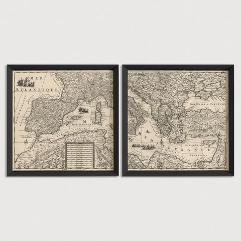 Mediterranean Antique Map Print Set (c1680)