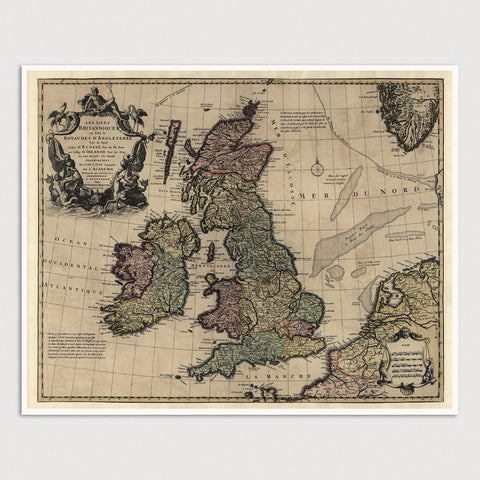 Great Britain and Ireland Antique Map Print (c1730)