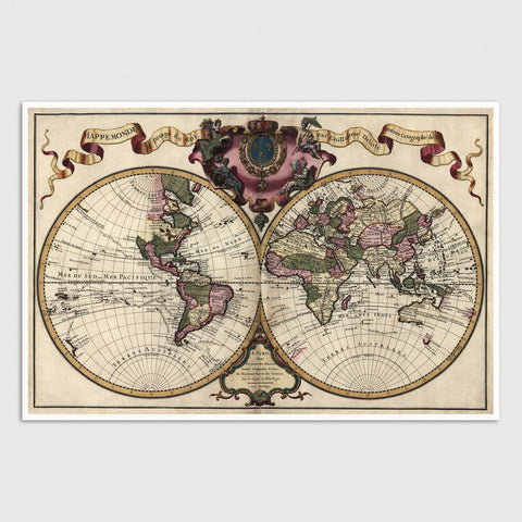 World Antique Map Print (1720)