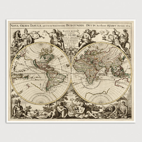 World Antique Map Print (1694)