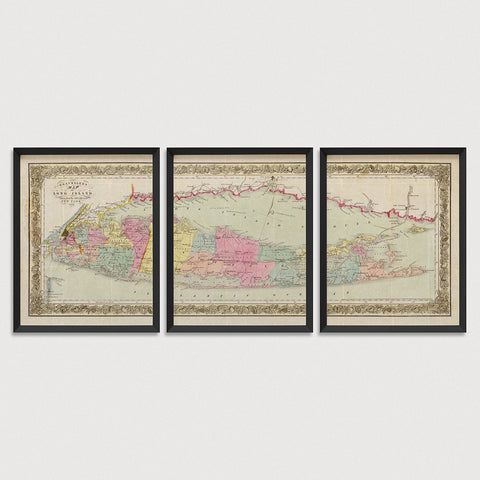 Long Island Antique Map Print Set (1857)