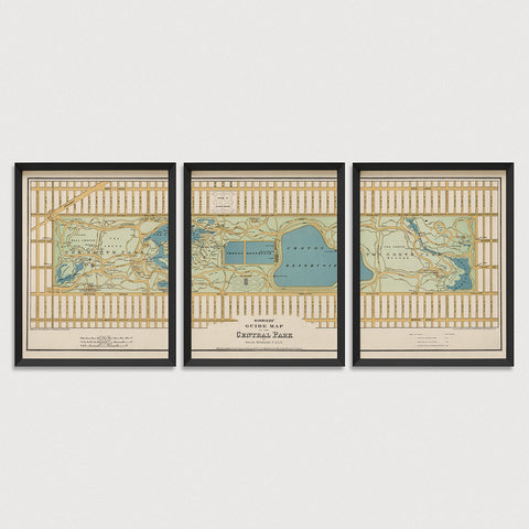 Central Park Antique Map Print Set (1875)