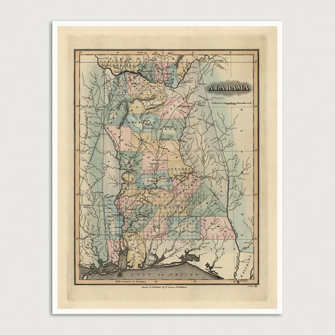 Alabama Antique Map Print (1826)