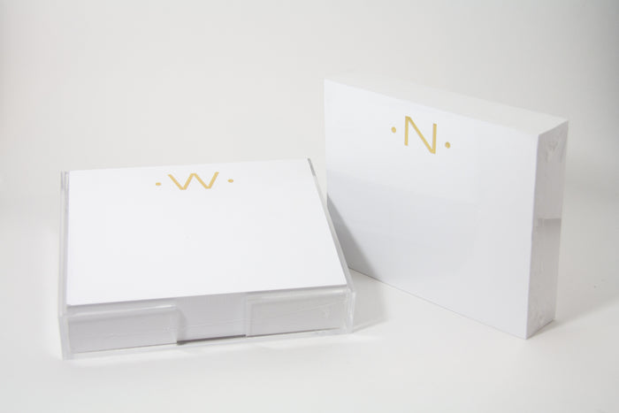 Black Ink Stationary Initial Luxe Foil Pad