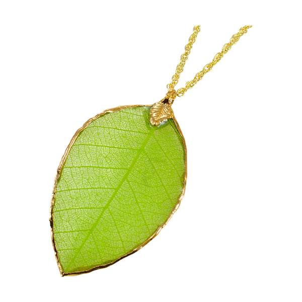 Green<br>Rubber Tree Leaf Pendants<br>with Gold 18 Inch Chain<br>Gift Boxed - GoldRoses.com