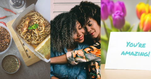 collage to go food friends hugging card and flowers