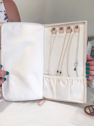 jewelry travel case open to necklace section