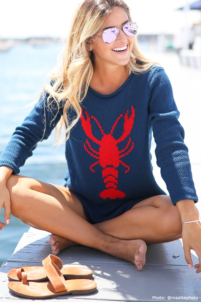 Women's Lobster Roll Crewneck Cotton Sweater's | Wooden Ships Knits