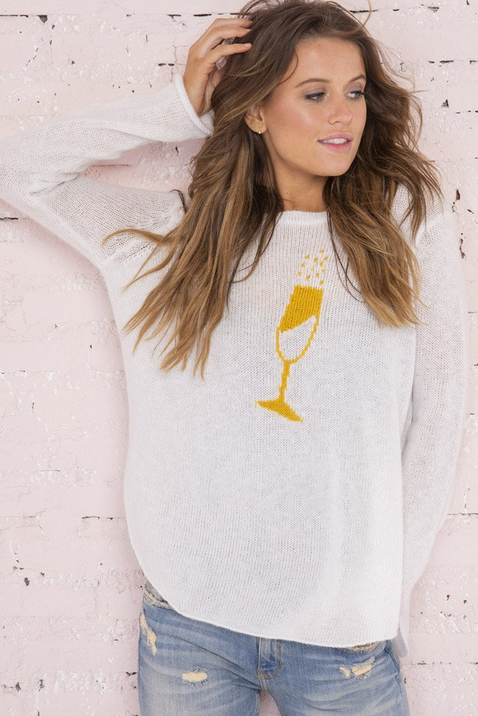 Women's Champagne Crewneck Sweater's | Wooden Ships Knits