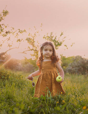My Little Sunshine Linen Dress - Acorn