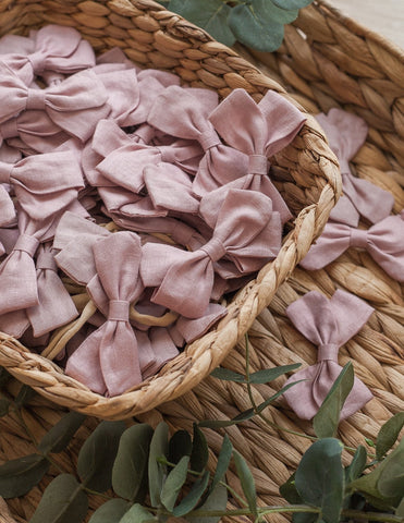 Lulu Linen Bow Headband or Clip - Blush