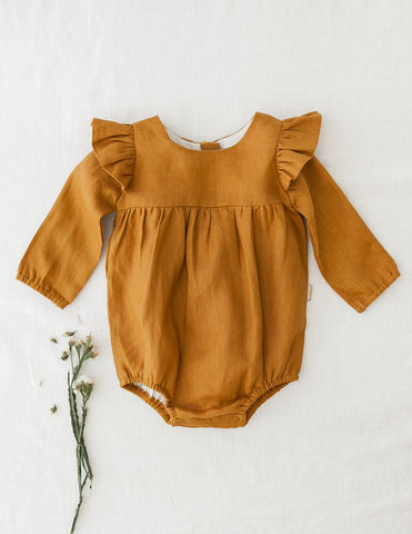 Milana Winged Linen Playsuit - Acorn