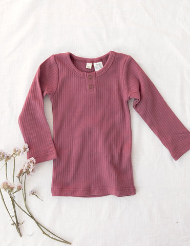 Willow Long Sleeve Cotton Top - Garden Rose