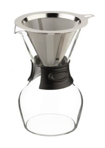Pour Over Coffee Brewer with Reusable Mesh Filter 580ml Glass Decanter