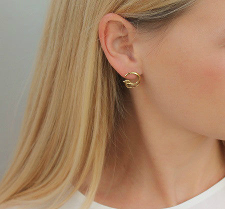 Aviary Gold Earrings with Diamonds