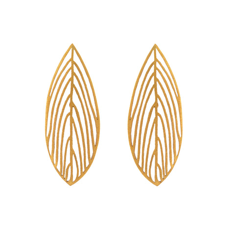 Gold Open Leaf Earrings