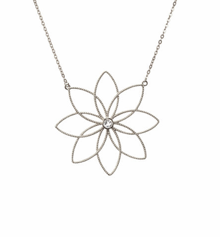 Winter Blossom Necklace with White Topaz