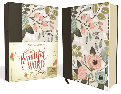 NKJV, Beautiful Word Bible, Cloth over Board, Multi-color Floral, Red Letter Edition