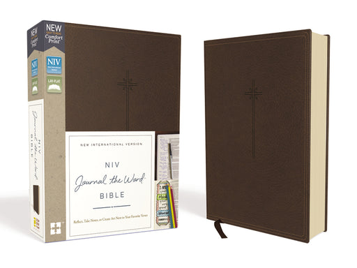 NIV, Journal the Word Bible, Leathersoft, Brown, Red Letter Edition, Comfort Print
