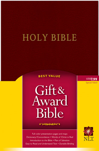 Gift and Award Bible NLT (Red Letter, Imitation Leather, Burgundy/maroon)