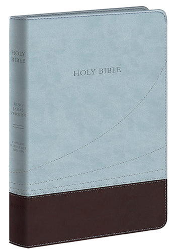 KJV Large Print Thinline Ref. Bible Chocolate / Blue / Flexisoft Leather