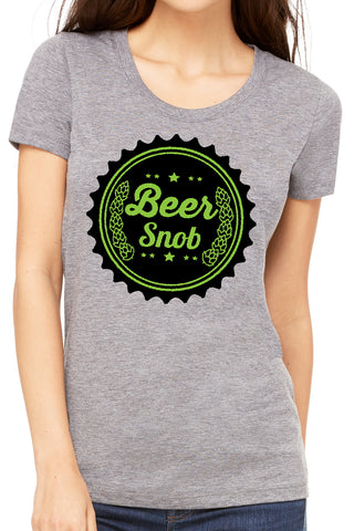 Beer Snob Ladies T Shirt Triblend Grey - Green/Black by Side Street Print