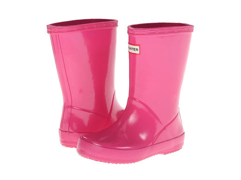 "Hunter Kids ""First Gloss"" Wellington Boots Fuchsia"