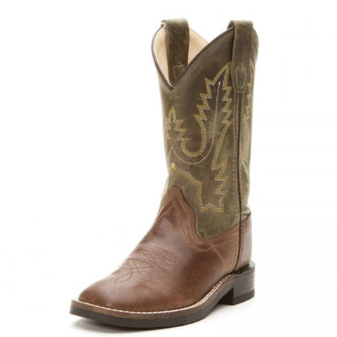 "Old West ""BSC1877"" Western Boot Brown/Olive Green"