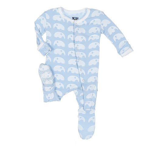 "KicKee Pants ""Essentials Print Footie with Snaps"" Blue Elephant"