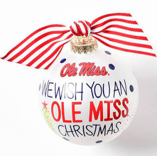 "Coton Colors Ole Miss ""We Wish You"" Ornament"