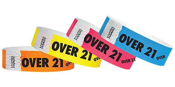"3/4"" Standard Wristbands OVER 21"