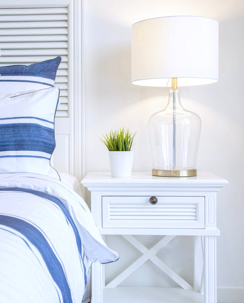 Long Island Bed Side Table In White