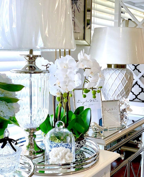Luxurious Glass Nickel Lamp With White Linen Shade