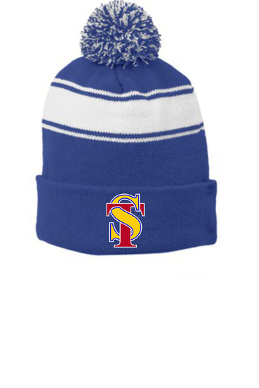 Seymour Tradition Striped Pom Pom Beanie