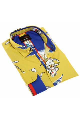 Yellow Floral Digital Print Shirt W/ Trim  #H-1911