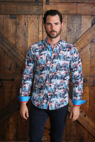 Turquoise Scenery Print Shirt With Trim