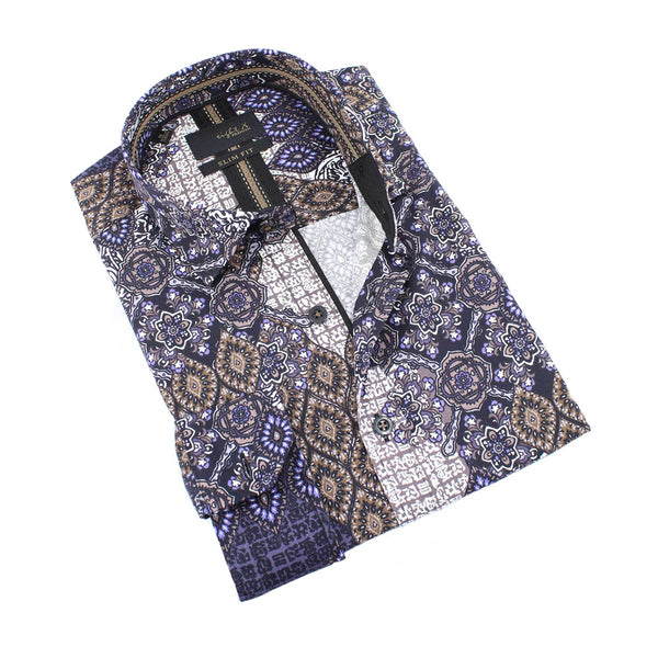 Men's slim fit collar button up dress shirt with print design