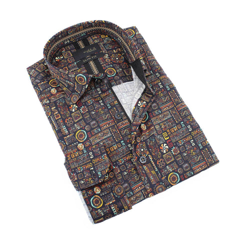 Men's slim fit multi colored collar button up dress shirt with Aztec symbol print